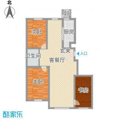 国盛东润枫景124.23㎡时光体验户型3室2厅1卫