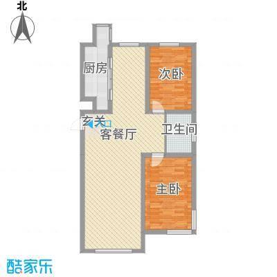 国盛东润枫景11.00㎡唯美方向户型2室2厅1卫