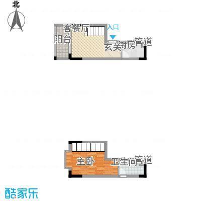 御景华城31.68㎡四期12号楼复式A户型1室1厅1卫1厨