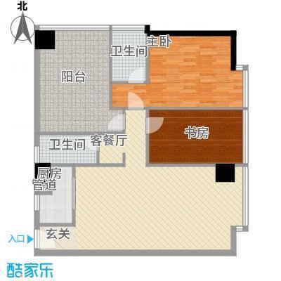禹洲世贸国际126.72㎡二期B栋10-27层03户型2室2厅2卫1厨