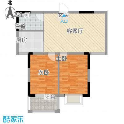 玫瑰国际88.00㎡D户型2室2厅1卫1厨