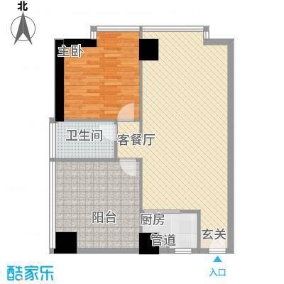 禹洲世贸国际5.77㎡二期B栋10-27层17户型1室2厅1卫1厨