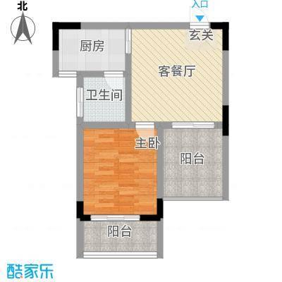 曦华佳苑56.87㎡3号楼C户型2室2厅1卫1厨