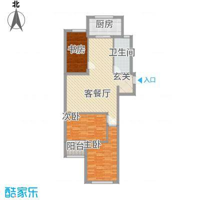 栋盛苑113.60㎡3号楼R户型3室2厅1卫1厨