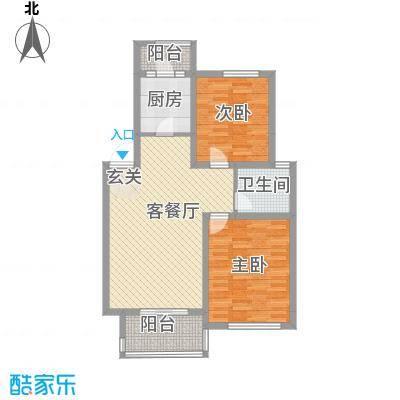 汇景苑A1型户型2室1厅1卫1厨