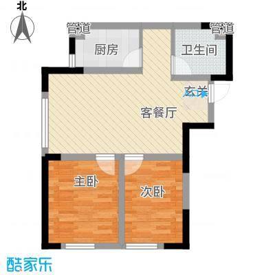 泰盈十里锦城76.40㎡G户型2室2厅1卫1厨