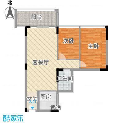盈彩美地75.00㎡GA标准层平面图户型2室2厅1卫1厨