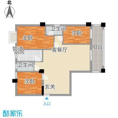 国兆蜜园115.10㎡3单元标准层01、04户型3室2厅2卫