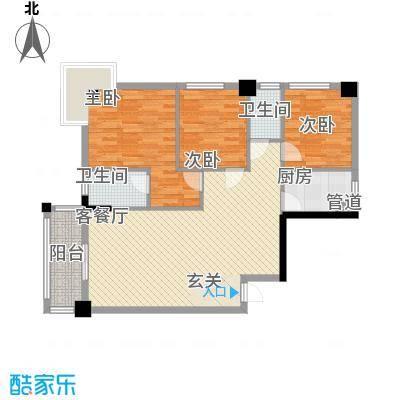 国兆蜜园112.74㎡1单元01、2单元02户型3室2厅2卫