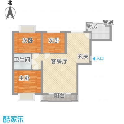 青洲豪庭116.75㎡户型3室2厅1卫1厨