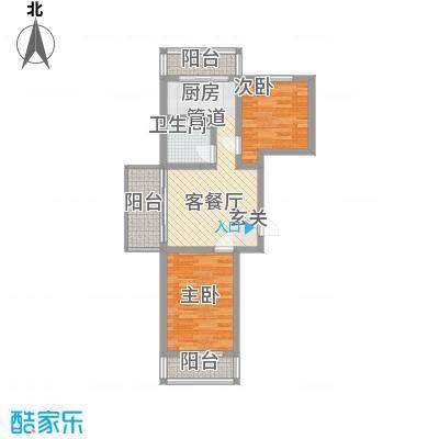 民生家园77.74㎡台北阳光5户型2室1厅1卫