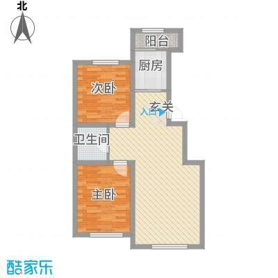 盛阳华苑87.65㎡E1户型2室2厅1卫1厨