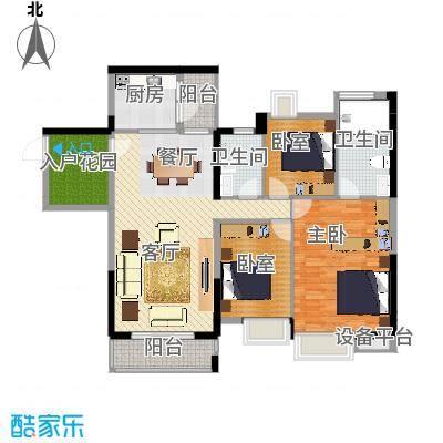 望龙轩128.56㎡1-2栋标准层04户型3室2厅2卫-副本