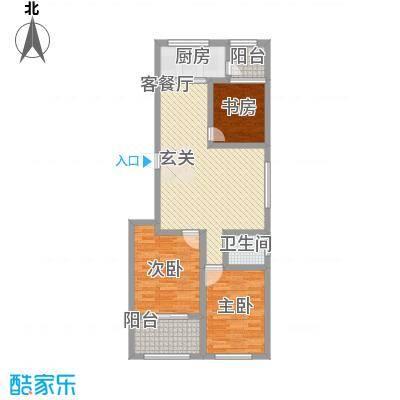 玉泉新城11.00㎡C2户型3室2厅1卫1厨