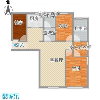 颐和香榭128.00㎡户型2室2厅2卫1厨