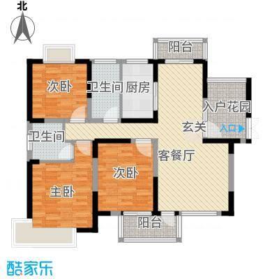 南光・洛龙湾壹号132.00㎡高层G1户型3室2厅2卫1厨