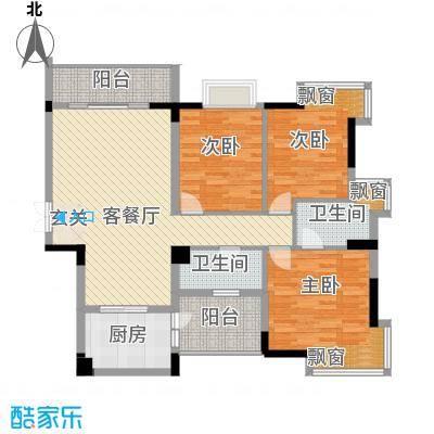 翠湖雅苑133.00㎡2号楼1单元05户型3室2厅2卫