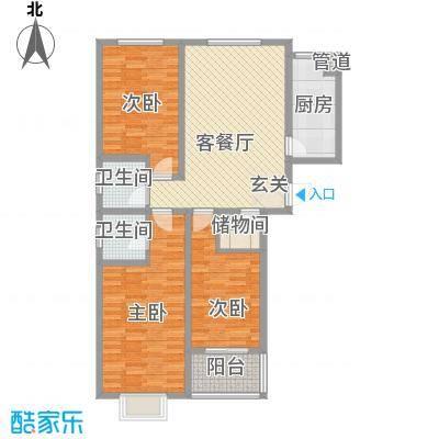 金塔花园128.00㎡B13户型3室2厅2卫1厨