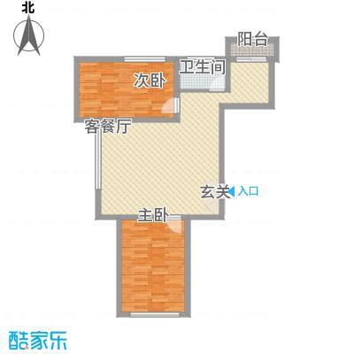 龙泰富苑87.54㎡户型2室2厅1卫