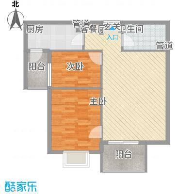 汇雅风尚85.00㎡一期5号楼E户型2室2厅1卫1厨