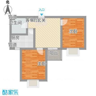 莱茵香榭74.30㎡4#楼E1户型2室1厅1卫