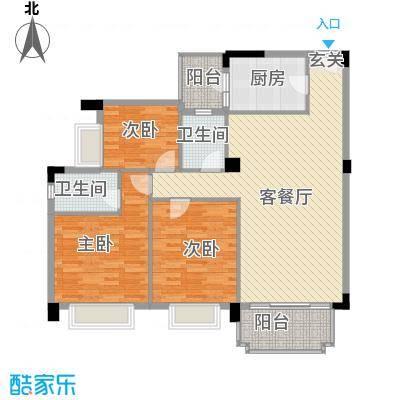 盛华园121.00㎡户型3室2厅2卫1厨