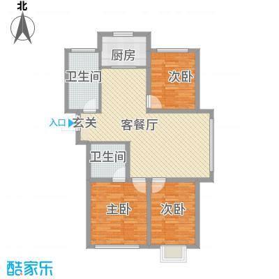 金海湾花园2户型3室2厅2卫1厨