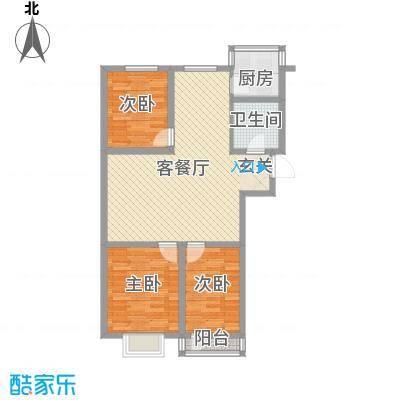 金海湾花园1户型3室2厅1卫1厨