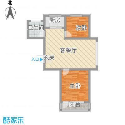 金海湾花园5户型2室2厅1卫1厨