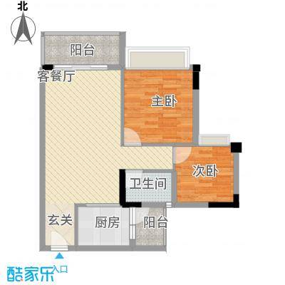 翰林名苑78.40㎡2、3、4栋03单位04单位户型2室2厅1卫1厨