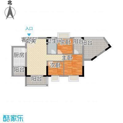 翰林名苑3栋01单元02单元户型3室2厅1卫1厨