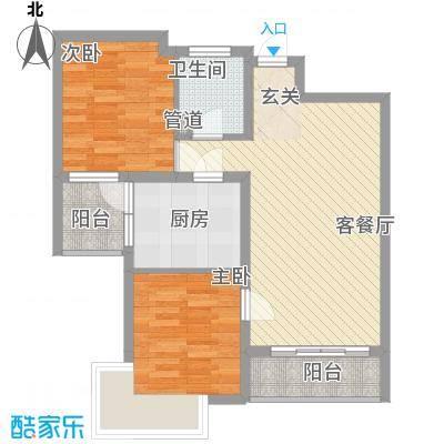 海蓝金岸78.60㎡高层2#、4#、5#、12号楼C1户型2室2厅1卫1厨