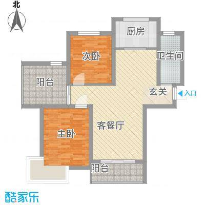 海蓝金岸6.35㎡高层2#、4#、5#、12号楼C3户型2室2厅1卫1厨