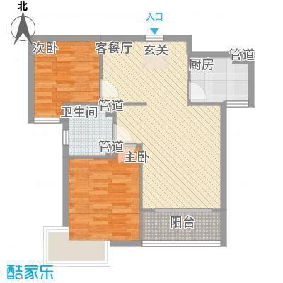 海蓝金岸84.47㎡高层2#、4#、5#、12号楼D1户型2室2厅1卫1厨