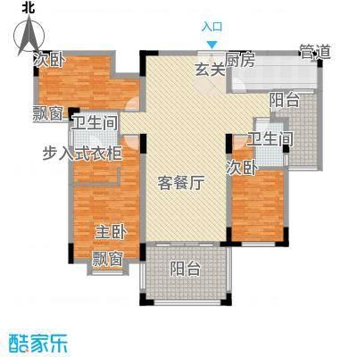 富龙翡翠欧庭153.38㎡2栋1单元平层02户型3室2厅2卫1厨