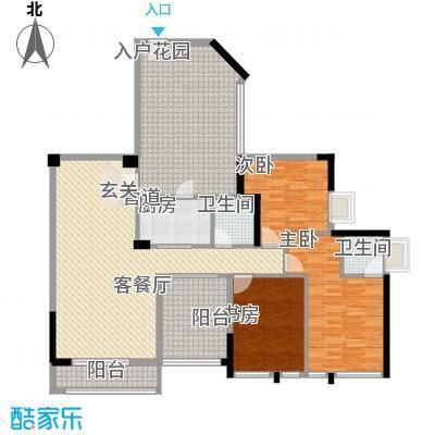 名流印象127.57㎡二期户型3室2厅2卫