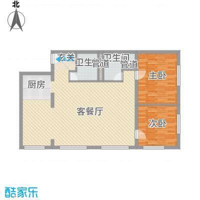 山景・明珠MOMA127.43㎡C1户型2室2厅2卫1厨