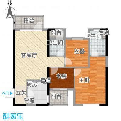 万科金色悦城16.25㎡1#楼、2#楼B座04单元户型3室2厅2卫1厨