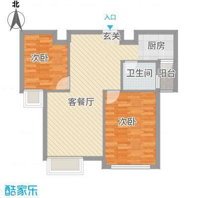 龙泽半岛逸湾77.00㎡B-1户型2室2厅1卫