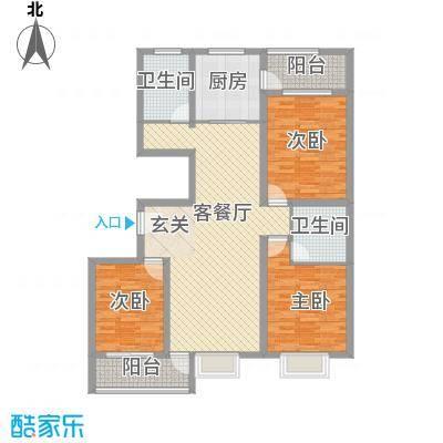 圣基铭座148.00㎡东区高层户型3室2厅2卫1厨
