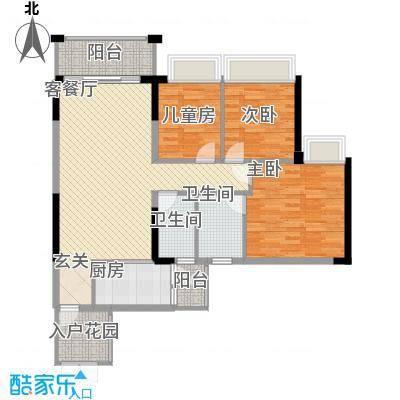 中颐海伦堡113.11㎡三期15栋04单元户型3室2厅2卫