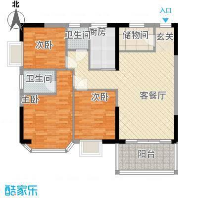 海燕绿岛商城113.44㎡百安阁二单元02户型4室2厅1卫1厨