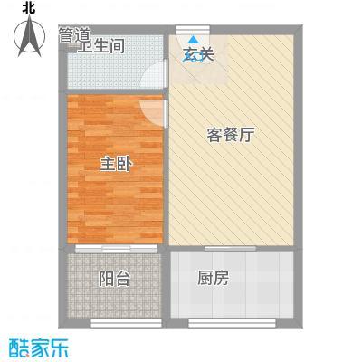 渤海明珠68.50㎡户型1室2厅1卫
