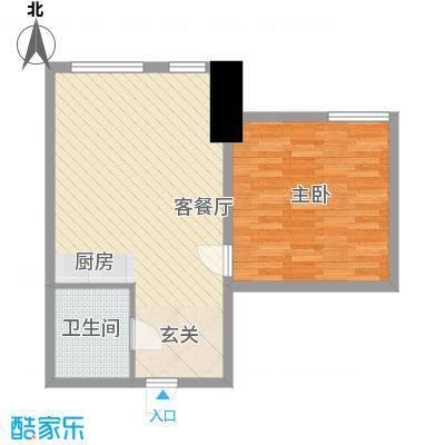 旺第嘉华72.70㎡27#楼型户型1室1厅1卫1厨