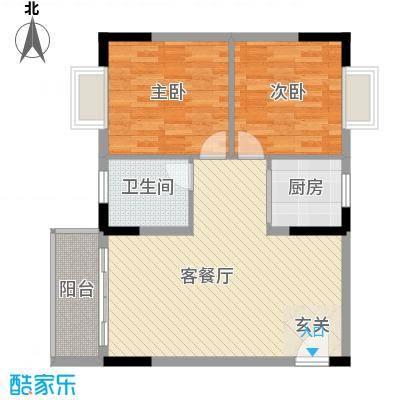 至尊豪苑75.44㎡5B栋02单位户型2室2厅2卫1厨