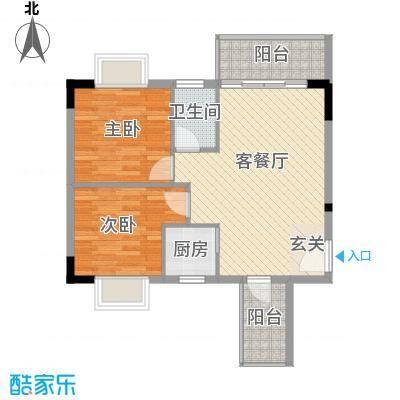 至尊豪苑7.40㎡2栋01单位户型2室2厅2卫1厨