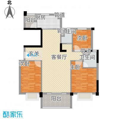 碧桂园逸泉山庄114.00㎡洋房YJ115-B户型3室2厅2卫1厨