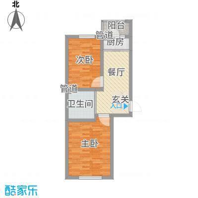 怡景阳光68.10㎡1E户型2室1厅1卫1厨