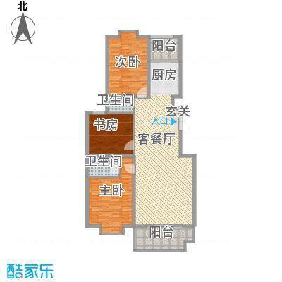 金邸山庄153.00㎡2号楼H户型3室2厅2卫1厨