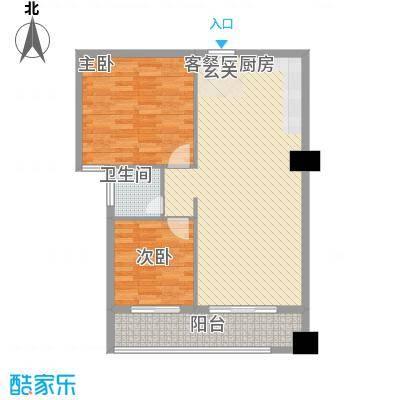 弘林大厦D户型2室2厅1卫